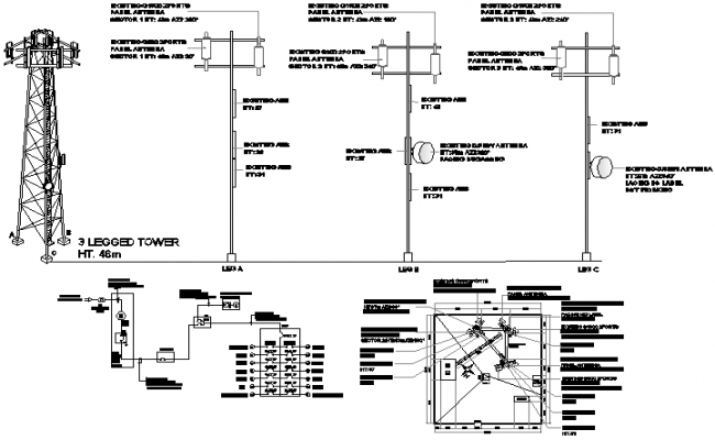 Tower installation with cabin, battery bank and leg installation dwg file