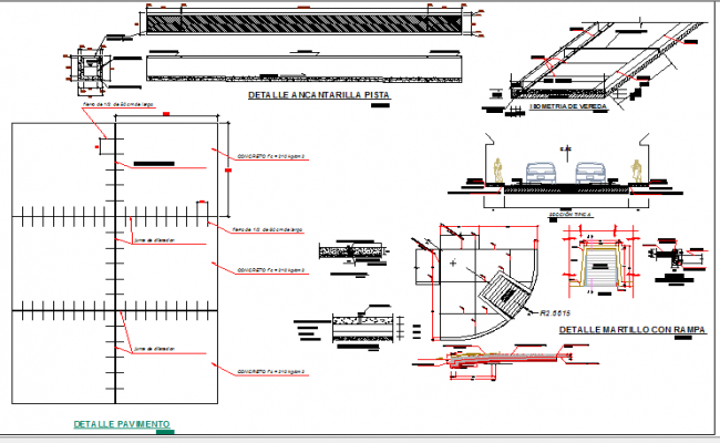 Track detail and side walks construction of city road dwg file