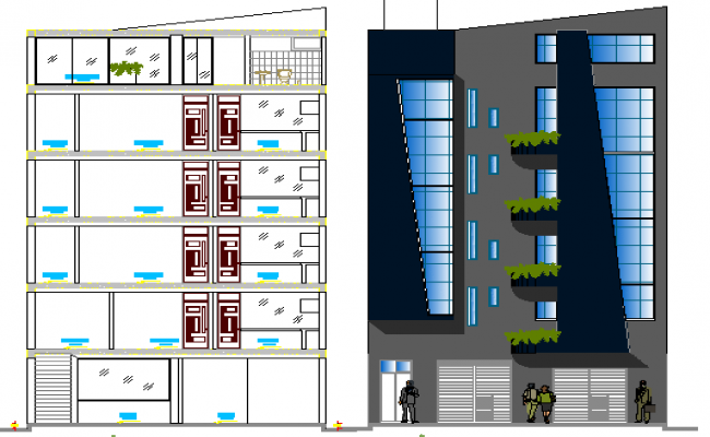 Trade House Architecture Design and Elevation dwg file