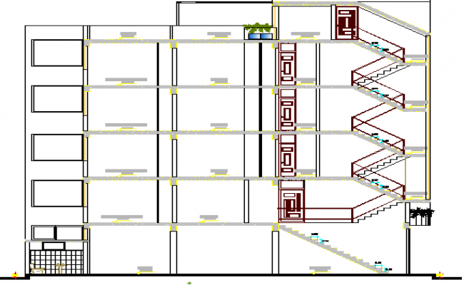 Trade House Architecture Design and Section Details dwg file