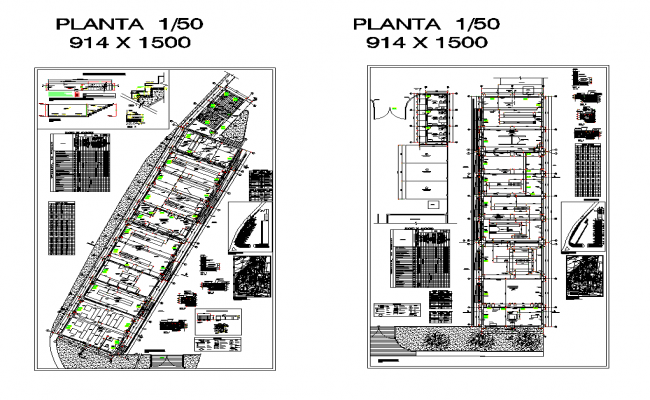 Trade center and office building detail plan 2d view layout file