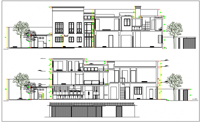 Traditional Architecture Design of Bungalow Elevation dwg file
