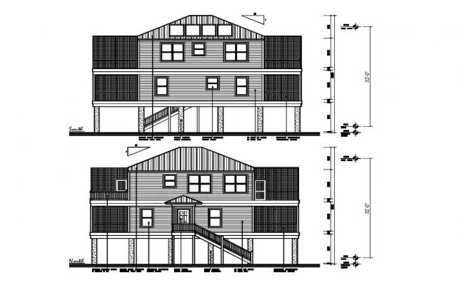 Traditional Elevation Of Bungalow With Dimension AutoCAD File