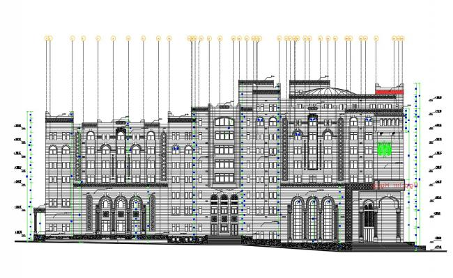 Traditional Elevation Of Commercial Building With Working Drawing AutoCAD File