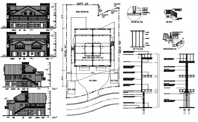 Traditional House Elevation Design DWG File