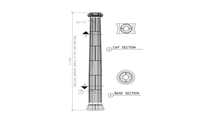Traditional Pillar Design And Section AutoCAD File