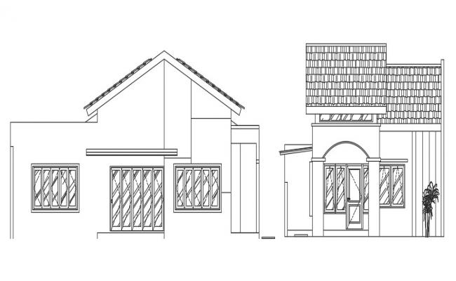 Traditional Style Bungalow Elevation Design AutoCAD File