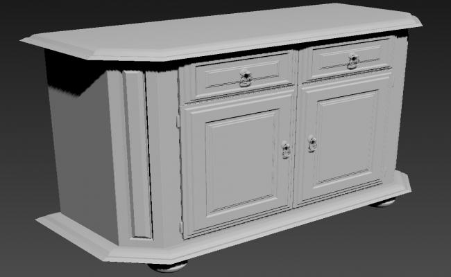 Traditional Wooden desk 3d Furniture Block Max File