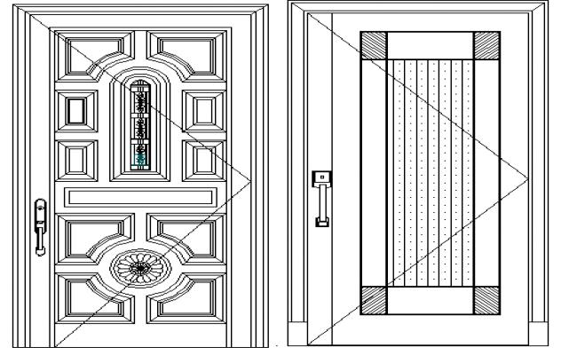Traditional door designing block details dwg file