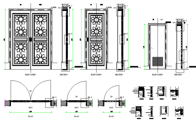 Traditional double and single door installation details dwg file