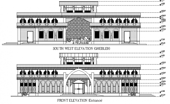 Traditional mosque elevation dwg file