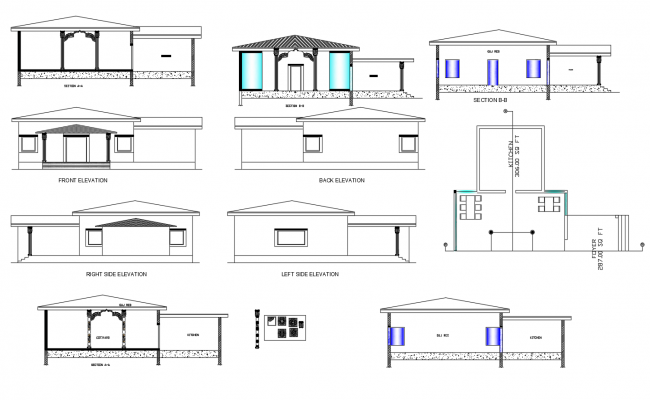 Traditional restaurant elevations in autocad