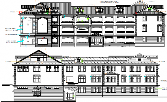 Traditional school elevation dwg file