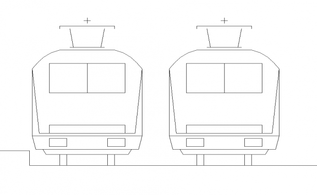 Train elevation 2d view layout dwg file