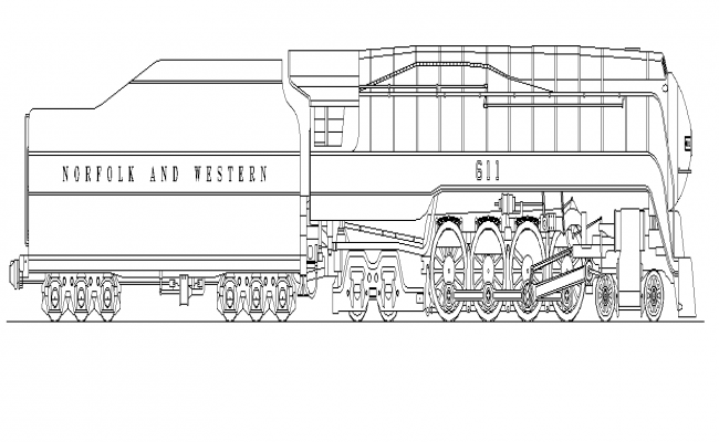 Train engine structure detail elevation 2d view layout file