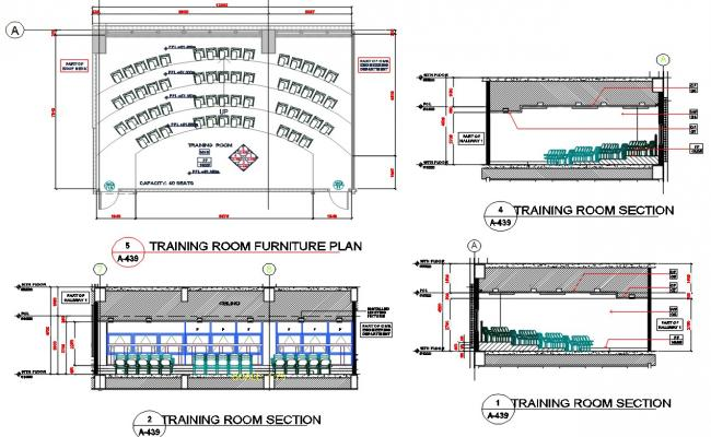 Training Room Furniture CAD Drawing