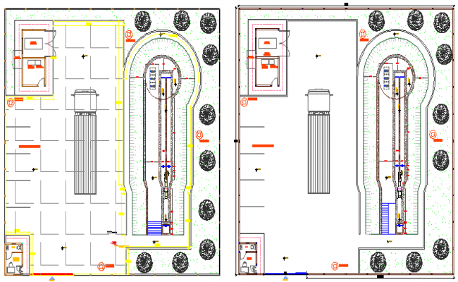 Treatment pavilion center landscaping and site plan dwg file