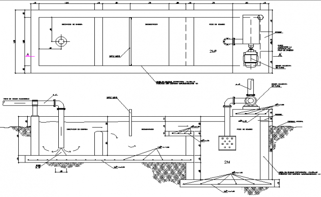 Treatment plant to take off sand detail dwg file