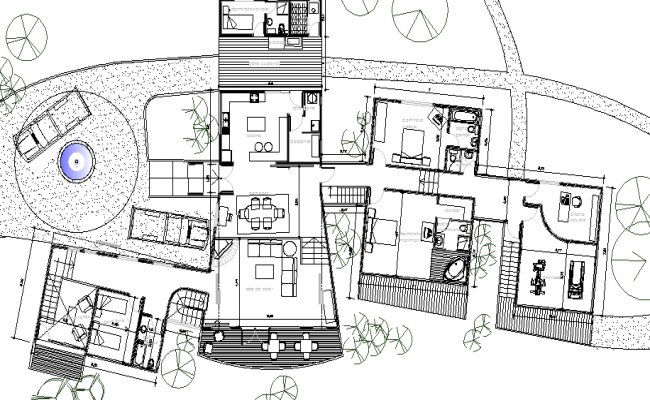 Tree House Architecture Design and Structure Details dwg file