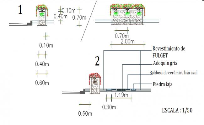 Tree Side elevation detail dwg file