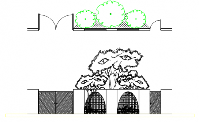 Tree detail and Door and window elevation detail dwg file