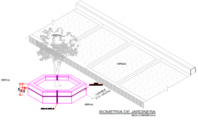 Tree plan and elevation detail dwg file