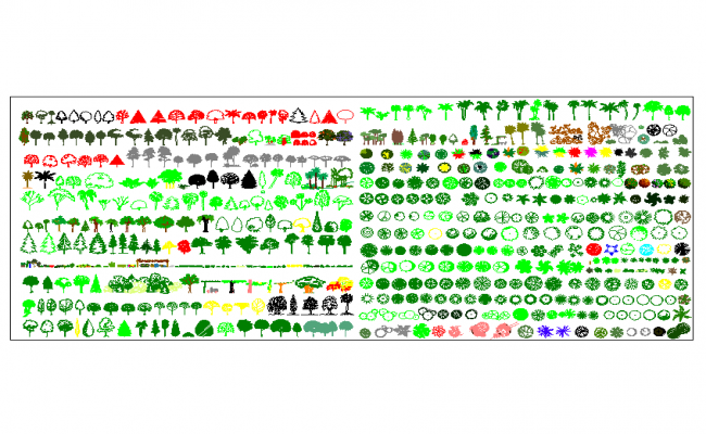 Trees and plant cad block plan detail dwg file.