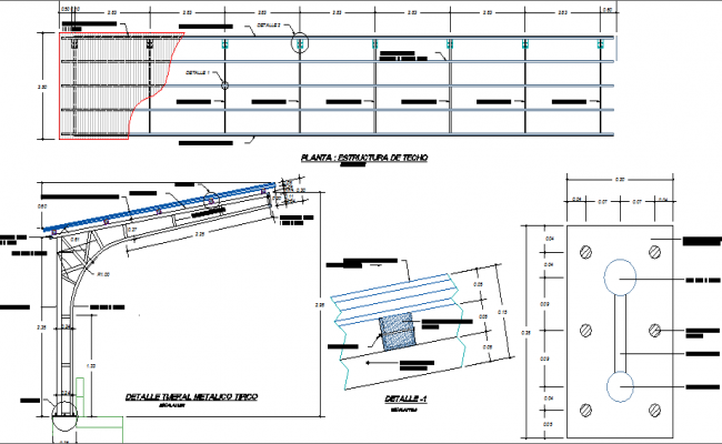 Tribune stage coverage roof structure details dwg file
