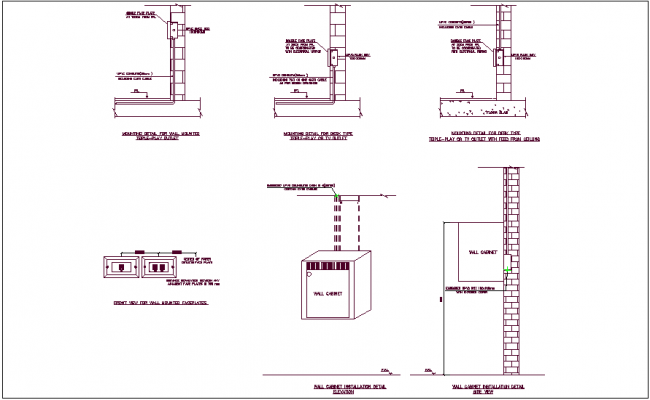 Triple play outlet and wall cabinet wall mounting detail dwg file