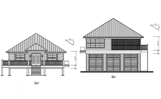 Truss House Elevation Design DWG File