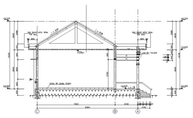 Truss Roof House Section Plan