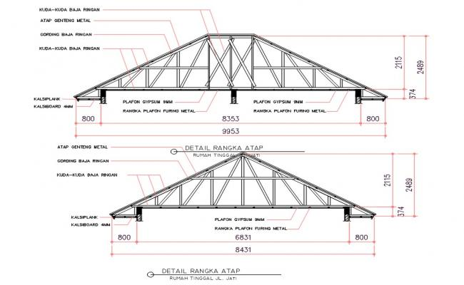 Truss Roof Section Drawing DWG File