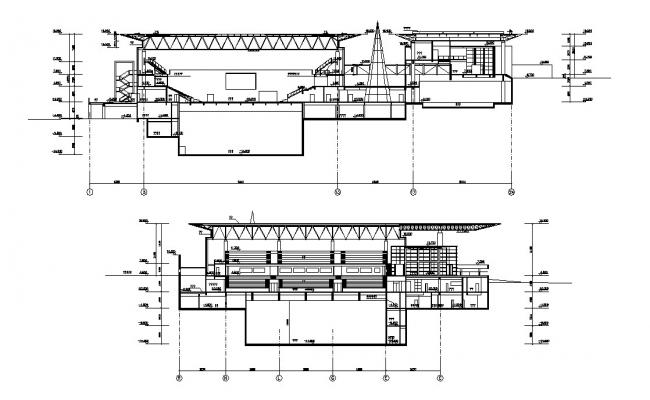 Truss Section Of Stadium with structure Design AutoCAD File Free Download