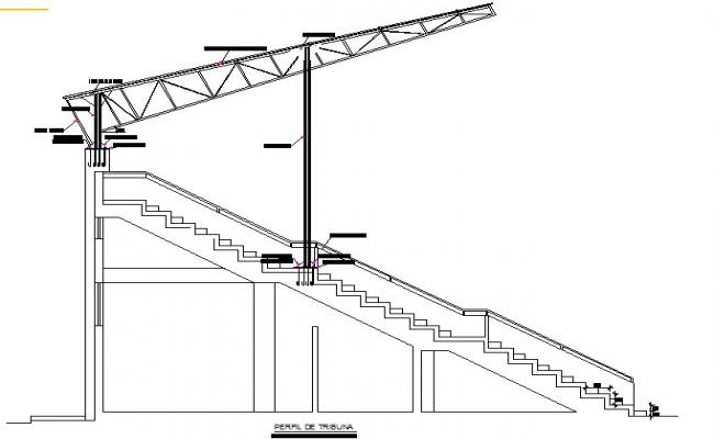 Truss Stair section detail dwg file