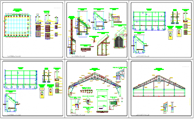 Truss design view with structural view for collage dwg file