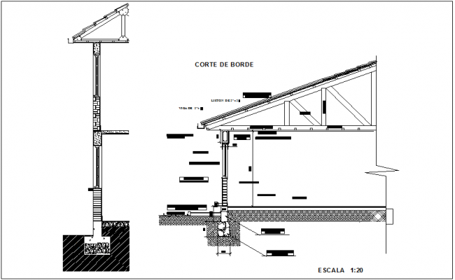 Truss elevation with side section view dwg file