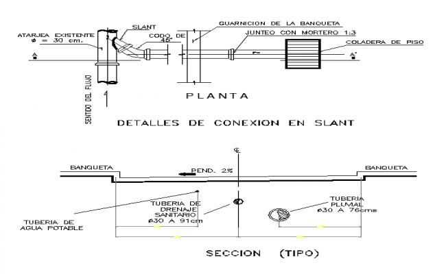 Tube Connection in slant Drawing Design