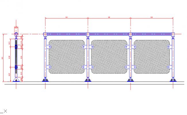 Tubular hand rail and glass
