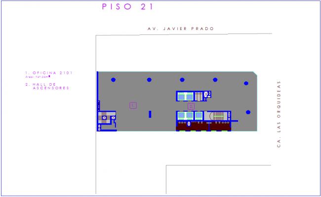 Twenty one number floor plan of corporate building dwg file