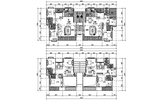 Twin 4 BHK Bungalow Furniture Layout Plan