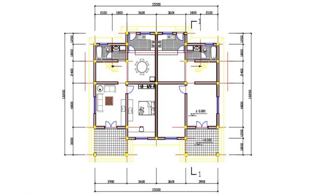 Twin House Design Plan AutoCAD Drawing Download