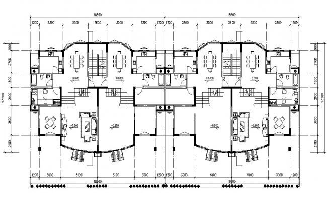 Twin House Ground Floor Plan DWG File