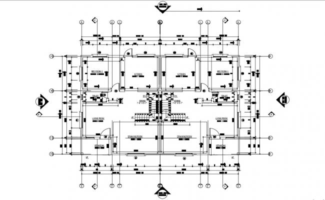 Twin House Plans AutoCAD File
