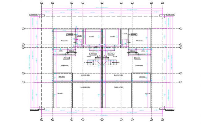 Twin House Plans DWG File