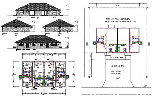 Twin House Project AutoCAD File