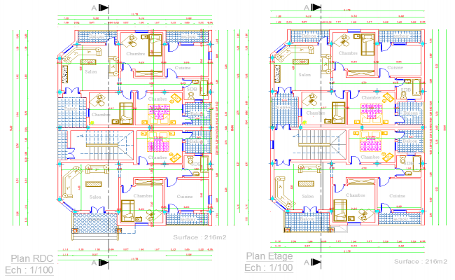 Twin House layout plan dwg file