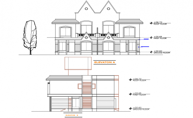 Twin bungalow elevation detail dwg file