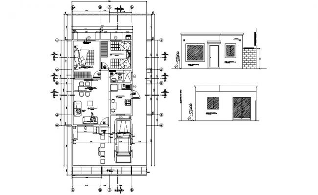 Two BHK Bungalow Plan and Elevation CAD Drawing