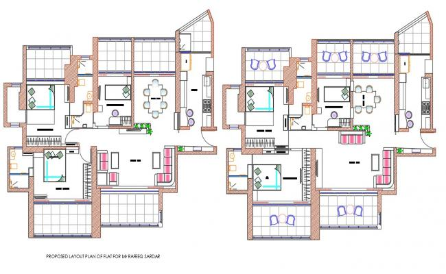 Two BHK Furnished Residential apartment AutoCAD drawing