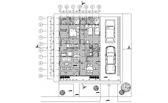 Two BHK Furnished house Floor Plan CAD drawing